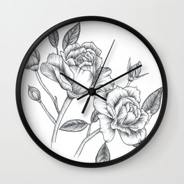 Twin Roses Inked Drawing Wall Clock