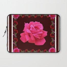 FUCHSIA PINK ROSE & BURGUNDY FLORAL PATTERNED ART Laptop Sleeve