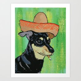 Smoking Chihuahua Art Print