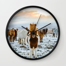 Icelandic horses #society6 #decor #buyart Wall Clock