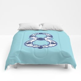 Blue floral eight Comforters