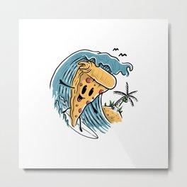 Pizza Surfing Metal Print