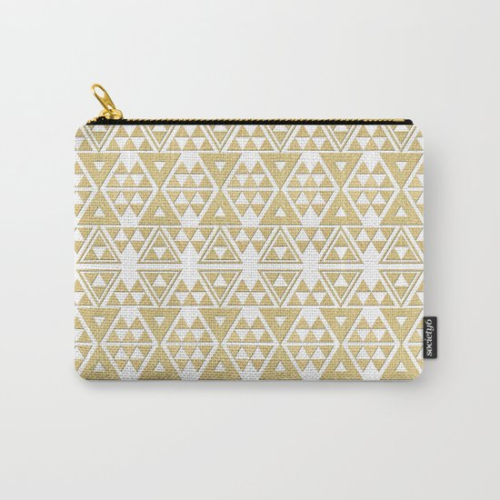 White and Gold Geometric Pattern 2 Carry-All Pouch