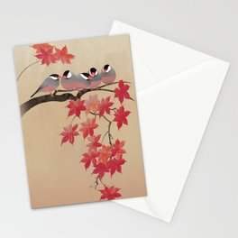 Java Sparrows in Japanese Maple Tree Stationery Cards
