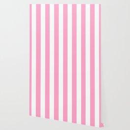 Carnation pink - solid color - white vertical lines pattern Wallpaper