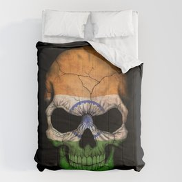 Dark Skull with Flag of India Comforters