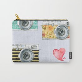 Five Vintage Cameras in Watercolor Carry-All Pouch