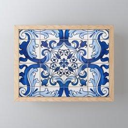 Blue Azulejo Tile Portuguese Mosaic Pattern Framed Mini Art Print