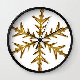 Minimalistic Golden Snowflake Wall Clock