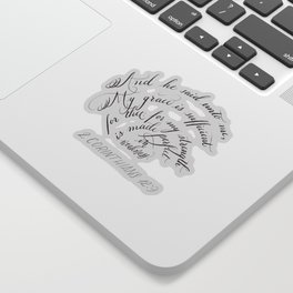 My Grace Is Sufficient For Thee Flourished Calligraphy Sticker
