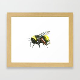 Bumblebee, minimalist bee honey making art, design black yellow Framed Art Print