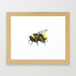 Bumblebee, minimalist bee honey making art, design black yellow Framed Art Print