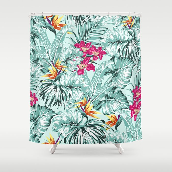 Bird Of Paradise Greenery Aloha Hawaiian Prints Tropical Leaves Floral Pattern Shower Curtain