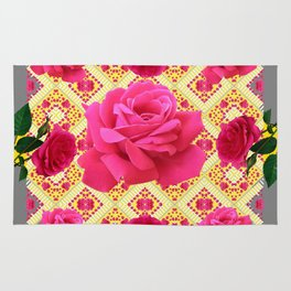 PINK GARDEN ROSES PATTERN  GREY ABSTRACT Rug