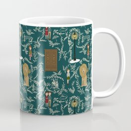 Narnia Lucy Aslan Edmund Teal And Cream Repeat Pattern  Coffee Mug