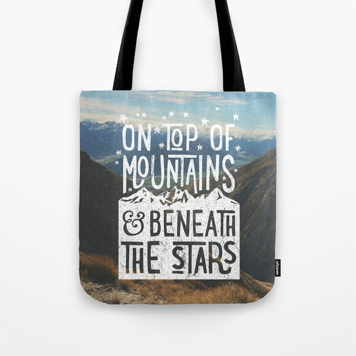 on top of mountain and beneath the stars Tote Bag