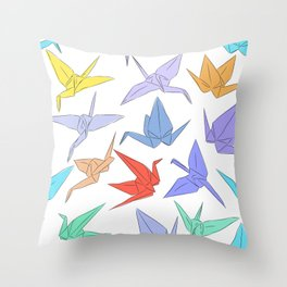 Japanese Origami paper cranes symbol of happiness, luck and longevity Throw Pillow