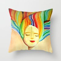 grace Throw Pillows featuring grace by sylvie demers
