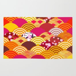 pattern scales simple Nature background with japanese sakura flower, rosy pink Cherry, wave Rug