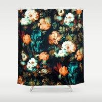 vintage floral Shower Curtains featuring Vintage Floral by Burcu Korkmazyurek