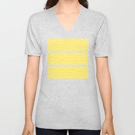 Yellow with White Squiggly Lines Unisex V-Neck