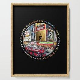 Times Square New York City (badge emblem on black) Serving Tray