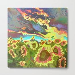 Vibrant Vibrations of Sunset Sunflowers Metal Print