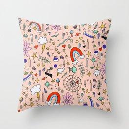 """Happy Cosmic Juice"" Hand Drawn Digital Collage in Beige Throw Pillow"