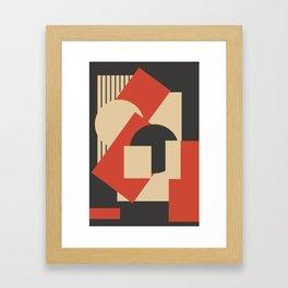 Geometrical abstract art deco mash-up scarlet beige Framed Art Print