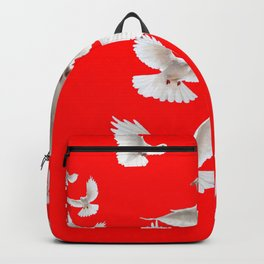 FLOCK OF WHITE PEACE DOVES ON RED COLOR Backpack