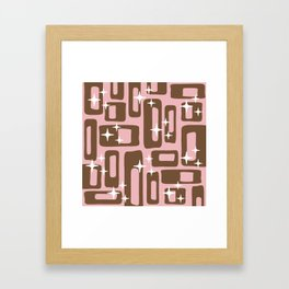 Retro Mid Century Modern Abstract Pattern 780 Pink and Brown Framed Art Print