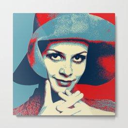 """Twiggy Pop Stencil Portrait"" Metal Print"