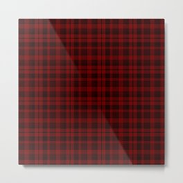 Red and Black Plaid Pattern Metal Print