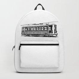 Old City Tram Detailed Illustration Backpack