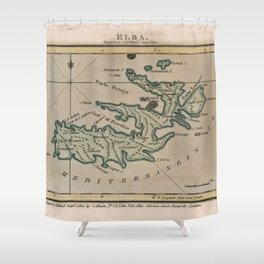 Vintage Elba Italy Map (1800) Shower Curtain