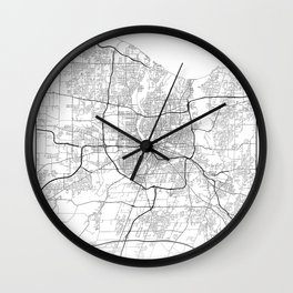 Minimal City Maps - Map Of Rochester, New York, Untited States Wall Clock
