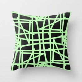 Black and neon green modern abstract pattern Throw Pillow