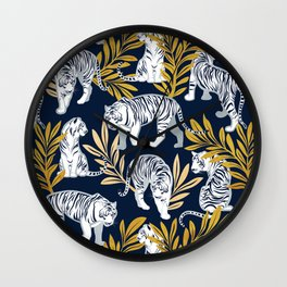 Nouveau white tigers // navy blue background yellow leaves silver lines white animals Wall Clock