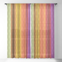 Jewel Tone Color Stripes Sheer Curtain