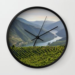 Vineyards and a chapel in the Douro Valley, Portugal Wall Clock