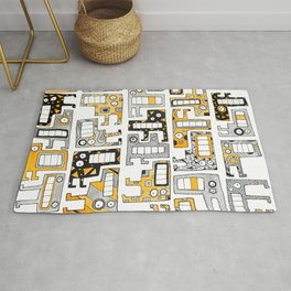Tetris monsters yellow and grey Rug