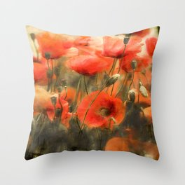 Poppies Watercolor Smudge Throw Pillow