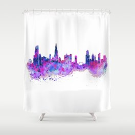 Chicago Watercolor Skyline 2 Shower Curtain