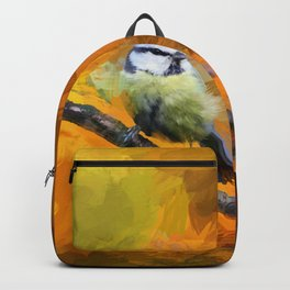 Tit Bird Abstract Painting Backpack