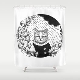 Cat Set Ink 01 Drawings - Cat in Rain Shower Curtain