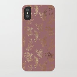 Mauve pink faux gold wildflowers illustration iPhone Case