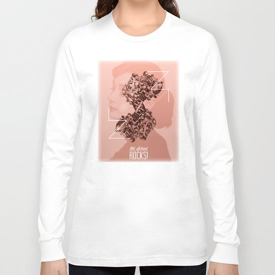 Old School Rocks! Audrey Hepburn Version Long Sleeve T-shirt
