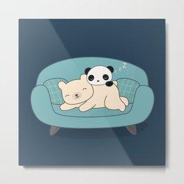 Kawaii Lazy Panda and Polar Bear Metal Print