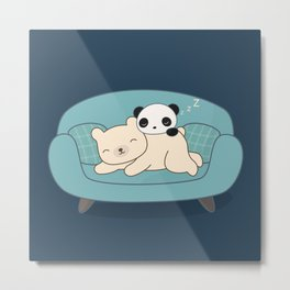 Kawaii Lazy Panda and Polar Bear Metal Print