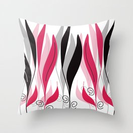 Digital Vector Drawing Leaves Throw Pillow